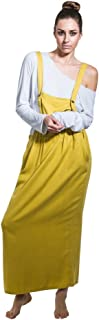 Long Dungaree Dress - Mustard Maxi Loose Pinafore with T-shirt