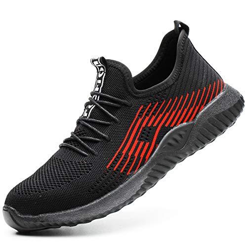 Zapatillas de Seguridad Hombres Hembra, Zapatos de Trabajo con Punta de Acero Ultra Liviano Suave y cómodo Industriales Transpirable EU 43