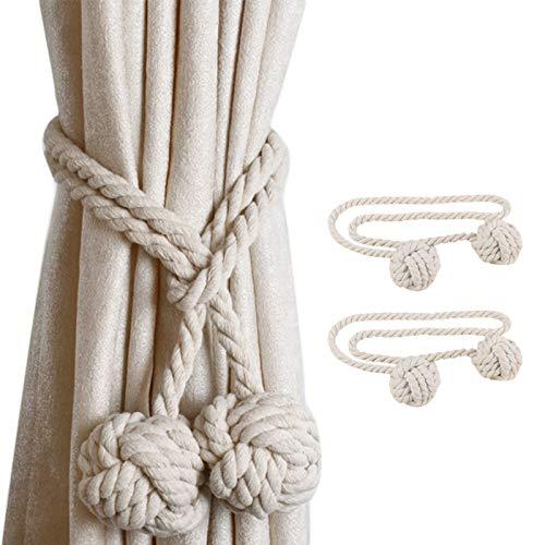 JieGuanG Abrazaderas de cortina, pinzas para cortina, con dos bolas para decoración en el hogar y la oficina (beige)