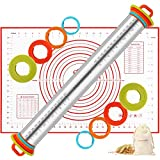 Rolling Pin, Christmas Rolling Pins with 4 Independent-Removing Thickness Rings, Extra Non-Stick...