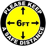 Please Keep Safe 6 Foot Distance Social Distancing Indoor Floor Decal. 12' x 12'. 5 Pack (5-Decals) SalaGraphics Brand. Yellow Color Version. Industrial UV Grade Anti-Slip. Health Measures. Made in USA.