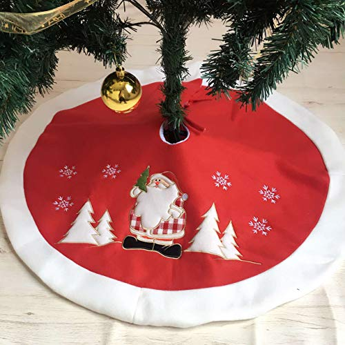 PICTURESQUE Red Santa Claus Velvet Christmas Tree Skirts 35inch