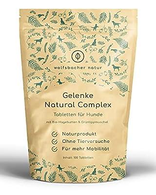 Wolfsbacher Gelenktabletten für Hunde - 100 Tabletten mit Grünlippmuschel, Teufelskralle, MSM - 100% Naturprodukt mit Bio-Hagebutten und Bio-Ingwer - ohne künstliche Zusätze