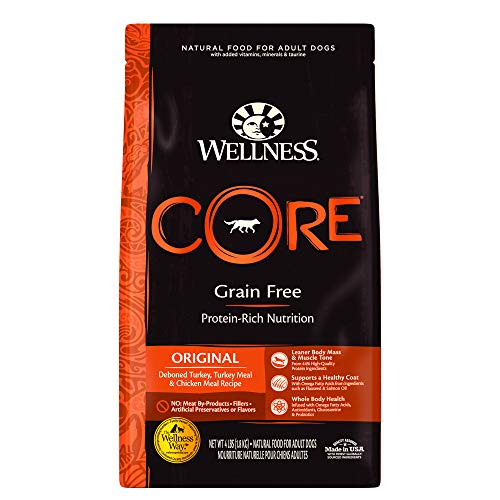 Wellness CORE Natural Grain Free Dry Dog Food, Original Turkey & Chicken, 4-Pound Bag