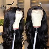 BEEOS 9A 360 Lace Frontal Human Hair Wigs,150% Density Pre Plucked and Bleached Knots with Baby Hair,Free Part Body Wave Natural Black Remy Brazilian Wigs(18 inch)