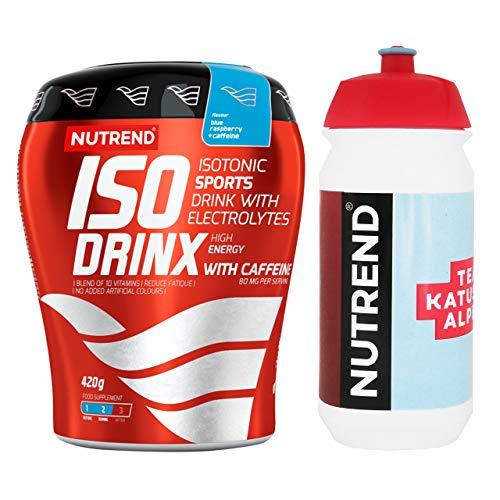 Nutrend Isodrinx 1 x 420g + Bidon Tacx 1 x 500ml – Katusha – Set (Blue Raspberry + Caffeine)