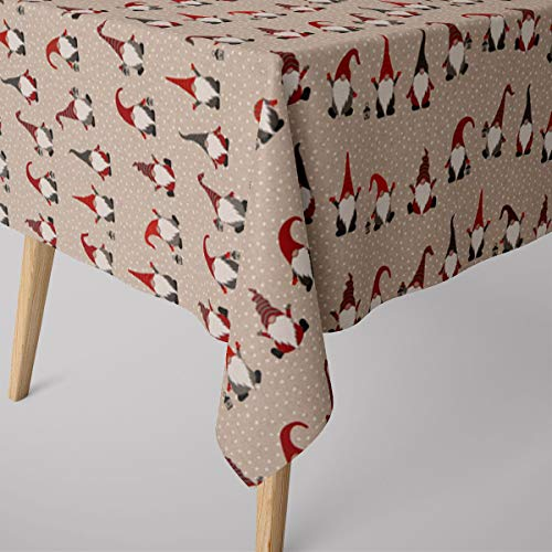 SCHÖNER LEBEN. Table Cloth Christmas Gnome Winter Gnome Men Natural Red Grey Various Sizes Tablecloths Size: 130 x 160 cm