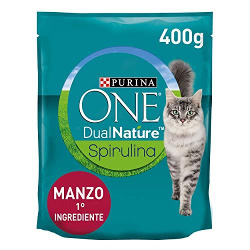 PURINA ONE DUALNATURE Crocchette Gatto Sterilizzato ricco in Manzo e con Spirulina naturale - 8 sacchi da 400g ciascuno