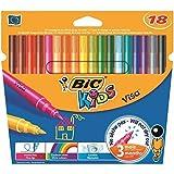 BIC KIDS VISA - Juego de 12 estuches de 18 rotuladores para colorear (punta fina bloqueada, 18 colores)
