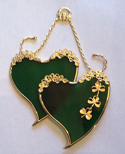 Irish SweetHearts with Shamrocks and Claddaugh Stained Glass Ornament
