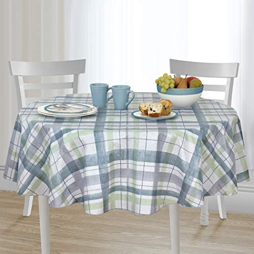 Lexington Plaid Stain Resistant and Spill Proof with Flannel Backing Vinyl Tablecloth for Spring/Summer/Party/Picnic, Blue, 90' Round