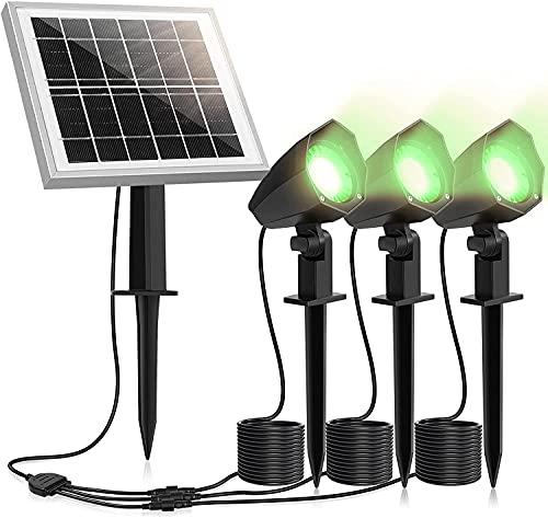 Euch 3 focos solares para jardín, IP66, impermeables, para exteriores, con estaca, para jardines, arbustos y árboles, luz blanca diurna (verde, 3 unidades)