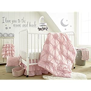 Levtex Baby – Willow Crib Bed Set – Baby Nursery Set – Pink – Soft Rosette Pintuck – 5 Piece Set Includes Quilt, Fitted Sheet, Diaper Stacker, Wall Decal & Crib Skirt/Dust Ruffle