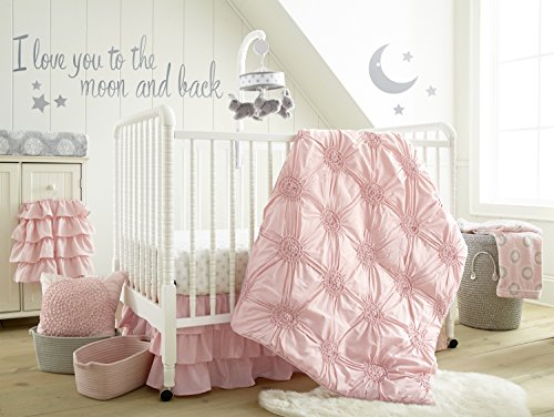 Levtex Baby - Willow Crib Bed Set - Baby Nursery Set - Pink - Soft Rosette Pintuck - 5 Piece...