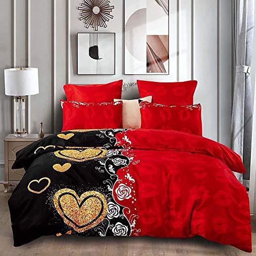 Labios Rojos CorazóN Dorado Rosa Blanca Impreso Funda NóRdica Rojo Negro Moda Reversible Juego De Cama Parejas Hogar Juego De Cama Dormitorio, 200x200cm, 3 Piezas (1 Funda NóRdica 2 Funda Almohada)