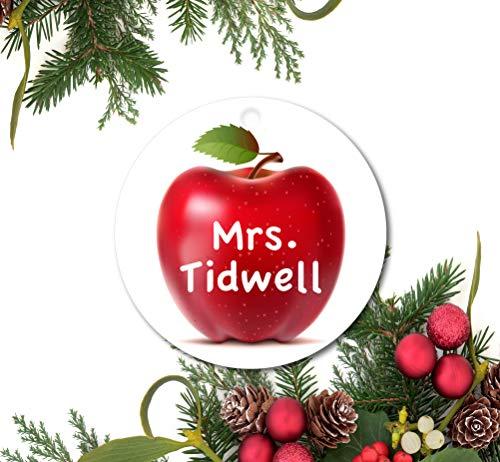 Teacher Ornament, Personalized Christmas Ornament, Teacher Gift, Custom Teacher Ornament, Ceramic Ornament, Apple Ornament, Custom Name and Date Ceramic Ornament