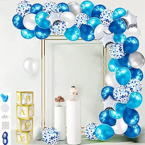 iZoeL Ghirlanda Di Palloncini Blu, 100pezzi Palloncino Coriandoli In Lattice, Strumento Annodante, Nastro E Adesivo Decorazione, Per Ragazzo Feste Di Compleanno