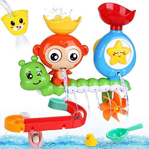 BBLIKE Juguetes Bañera - Juegos de Agua Orgsnizador Baño con Estación de Cascada Pista de Juguetes para Bebes, Juego de Piscina, Juego de Ducha 14 PCS (A)