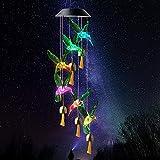 Moslate Campaña de Viento de colibrí Solar, Luces de Cambio de Color Decorativo Chime de Viento móvil con Campanas, Luces solares LED al Aire Libre Luces de Patio para jardín de jardín
