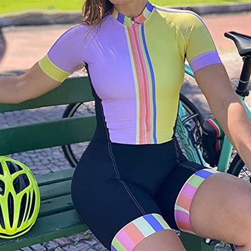 Ropa de manga corta de triatlón-triatlón para mujer Ropa de manga corta de ciclismo con gel Pad Cycling Set (Color : 2, Size : X-Large)
