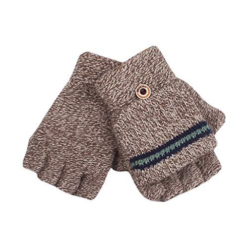 HEETEY Mode Handschuh Winter Große Kinderhandschuhe Halbfinger Strickhandschuhe Garn Jungenhandschuhe Handschuhe verdickte Gestrickte Handschuhe Weiche Outdoor Winterhandschuhe Warme Handschuhe