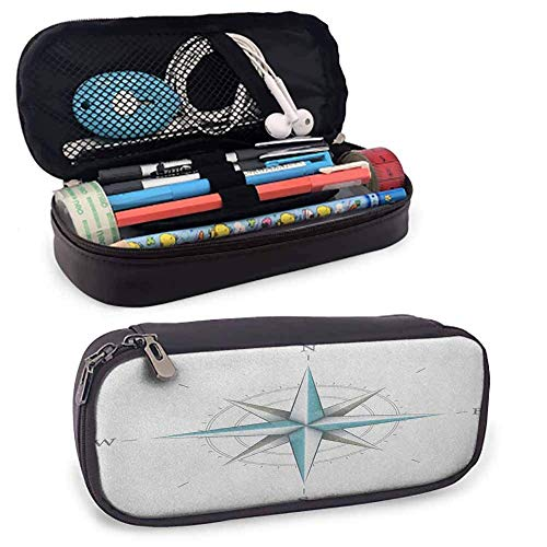 Big Capacity Pen Marker Holder Storage Compass Pencil Case, Colorful Different Compasses Set Orientation Icons Earths Magnetic Field Find Your Way for Pen, Pencil, Samsung, Huawei, Pen Acce