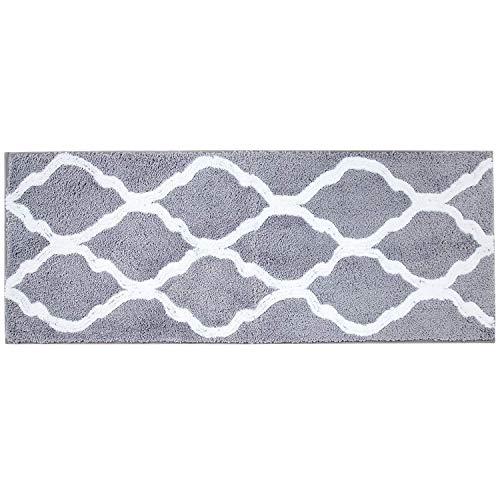 Pauwer Badematte rutschfest Badvorleger Microfaser Weich Badteppich Waschbar Duschvorleger aus Teppich für Badezimmer Küche Schlafzimmer, Grau, 45x120cm