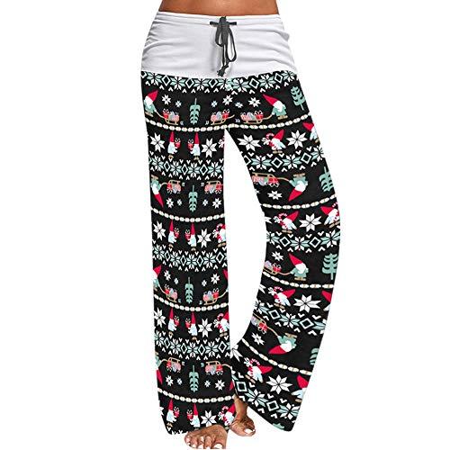 Womens Christmas Pajama Pant Drawstring High Waist Snowflake Reindeer Wide Leg Sleepwear Bottom (Black, M)