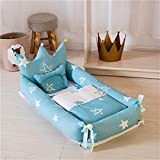 LJYY Baby <span class='highlight'>Nest</span> <span class='highlight'>Cuddly</span> <span class='highlight'>Nest</span> Baby Equipment Set 90 x 55 cm Removable Baby Mattress 100% Cotton Baby Travel Cot (Blue Starfish)