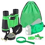 Kit de Binoculares para Niños Linterna de Manivela Brújula Lupa Silbato y Mochila con Cordones Juguetes de Exploración 6uds (Verde)
