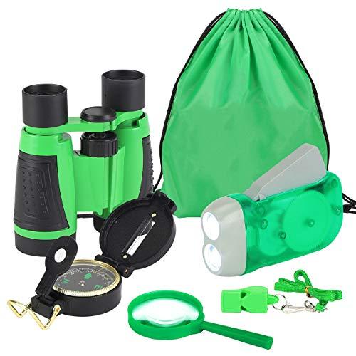 Kit de Binoculares para Nios Linterna de Manivela Brjula Lupa Silbato y Mochila con Cordones Juguetes de Exploracin 6uds (Verde)