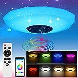 Blingbin - Plafoniera Bluetooth con altoparlante e telecomando, 36 W, cambia colore, lampada da soffitto a LED, per cameretta dei bambini, RGB Colourful, 32 x 32 x 10,5 cm (classe energetica A +)