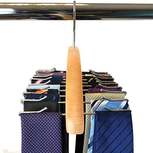 Wooden Tie Rack Hanger for 24 ties