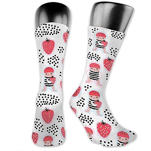 NA Naadloos patroon met leuke meisjes- en aardbeituba-patroon-nieuwigheid sokken willekeurige atletische sportteam-buissokken