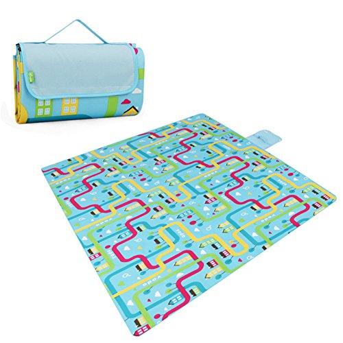 HM&DX Outdoor Wasserdicht Picknickdecken,Oxford PVC Wasserfeste Feuchtigkeitsbeständig Picknickdecke campingdecke Stranddecke Tragbare Picknick-pad-C 200x200cm(79x79inch)