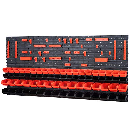 72 Stapelboxen mit Wandregal 160 x 80 cm | lager wandplatten lagerregal