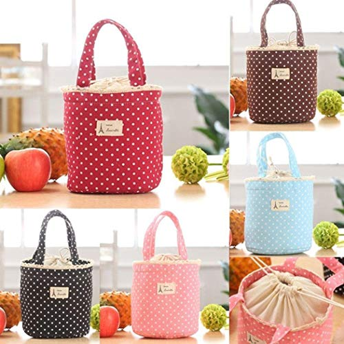 Kindes Portable Polka Dot Lunch Bag Drawstring Thermal Insulated Picnic Food Storage Lunch Bags