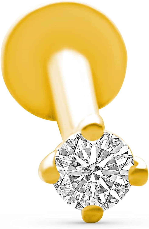 14k Real Yellow Gold Cubic Zirconia Ear Stud Internally Threaded Labret Piercing For Women Girls