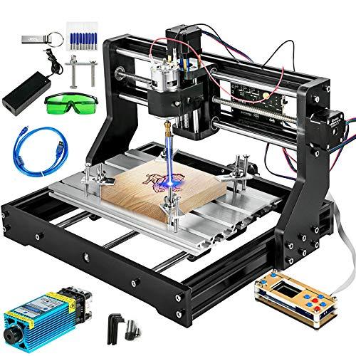 VEVOR 3018 Pro Machine de Gravure Laser 2 en 1 CNC avec 5500mW Module Laser, CNC Routeur Kit GRBL Contrôle 3 Axes DIY Mini Graveur Laser pour Bois Plastique PVC PCB Acrylique, 300x180x45mm