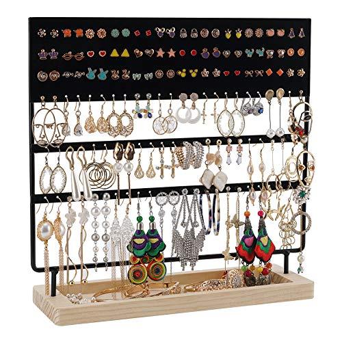 Organizador de pendientes, soporte para joyas, expositor para pendientes, pendientes y pendientes largos con estante de madera, 144 agujeros, color negro