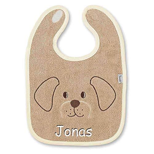 Sterntaler Lätzchen mit Namen bestickt Baby Geschenk zur Geburt, Motiv:Hanno (Hund) natur