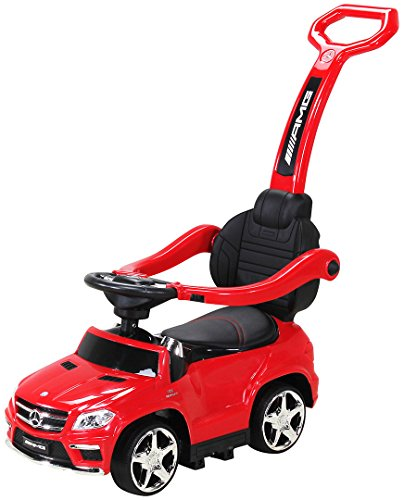 Actionbikes Motors Kinder Rutschauto Mercedes Amg GL 63 - Lizenziert - 4 in 1 - Schiebestange - Rutscher - Laufrad - Lauflernwagen - Lernspielzeug für Kinder ab 1 Jahr (Rot)