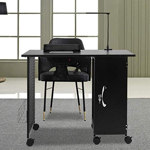 HOTYARD Nail Table, Manicure Desk with Electric Downdraft Vent, Cabinets, LED Lamp, Arm Rest, Locking Castors