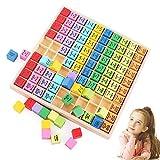 Sunshine smile Juguetes educativos matemáticos de Madera,Juguete de Mesa de multiplicación,Tabla de multiplicar de Madera,Tabla de multiplicar de Madera,Tabla de multiplicación (Color)