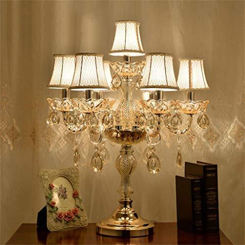 Mode creatieve kristallen tafellamp, luxe hoogwaardige gouden tafellamp met de kristallen en stoffen lampenkap voor in de woonkamer slaapkamer nachtkastje