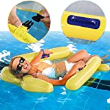 Pool Float, Inflatable Net Floating Bed, Water Hammock Float, Multi-Purpose Portable Swimming Pool, Lounge Chair Comfortable Floating Lounger. (Yellow)