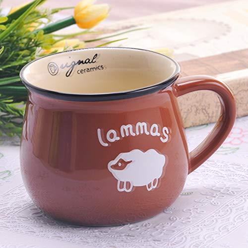 Heliansheng Moda Retro Taza de cerámica Creativa Taza de Agua Leche Taza de Desayuno Taza de café Taza - Marrón-Mediano