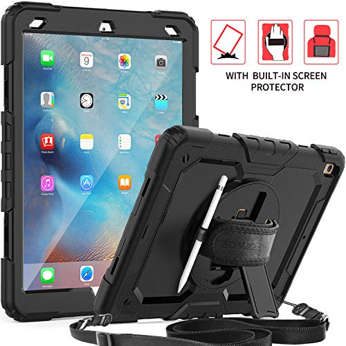 SEYMAC iPad Air 3 Case,Full Body Protection Case with Screen Protector 360 Rotating Stand [Hand Strap & Shoulder Strap] Pencil Holder Functions for iPad Air 3 2019/iPad Pro 10.5 2017-Black