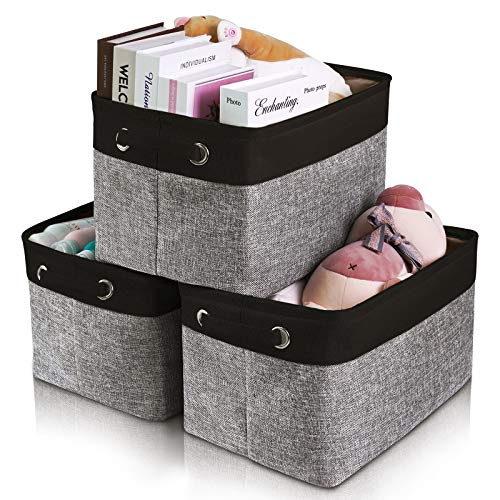 Seniny Collapsible Storage Bins 3-Pack Storage Cubes Box Large Storage Baskets for Organizing EVA Fabric Organizer with Handles for Home Office Closet Nursery Toys Suitable for Clothes Kids Room