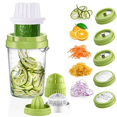 Osaloe Spiralschneider Hand für Gemüsespaghetti, 8 in 1 Spiralschneider Gemüse Reibe Entsafter für Karotte, Gurke, Zucchini, Käse, Schokolade, Orange, Zitrone, Beere usw.(Grün)